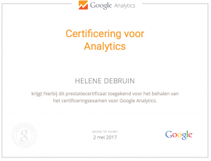 certifikaat Google Analytics